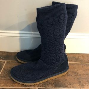 UGG MARQUIS 6 blue Sweater Knit Slouch Tall Boots